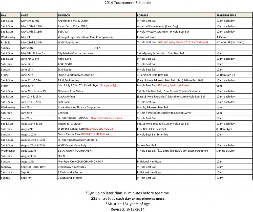 2014 Golf Tournament Schedule